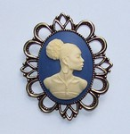 Black Woman African American Cameo Prooch or pendant Blue and Ivory F135