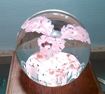 SOLD    3 Pedal Pink Flower Old Vintage Paperweight with Center Bubble