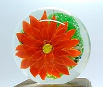 SOLD     Modern Art Glass Paperweight Poinsettia or Dalhia Red Flower