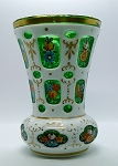 Antique Moser Vase Czech Bohemian Cut Glass White to Green