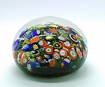 SOLD    Vintage  Millefiori hand Blown Art Glass Paperweight