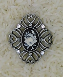 Antique Silver Filigree Rose Cameo Brooch Pin F102