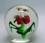 SOLD - - Vintage China Hand Blown Paperweight Bees over Pink Flower