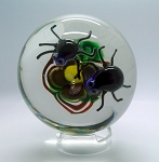 SOLD - - Art Glass Studio Paperweight Lampwork Bugs on Flower Signed