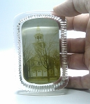Vintage Glass Photo Paperweight of Church Antique Souvenir 1900's