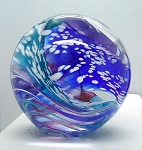 SOLD     Wilkerson Glass Swirl Studio Paperweight Hand Blown Signed G1094