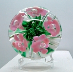 SOLD 1987 Gibson Studio Paperweight Pink Flowers on Green Frit  G1111