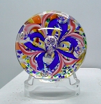 SOLD     Vintage Glass Paperweight Hand Blown Milleville or Czech Studio