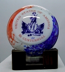 Bicentennial Large Art Glass Plaque Paperweight Signed Woods Limited Addition