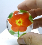 Vintage Glass Paperweight Chinese Red Poinsettia copy of Sandwich Glass