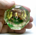 SOLD - - Early Chinese Art Glass Paperweight Faceted Fish Tank Aquarium G1107