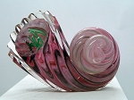 SOLD - - Studio Art Blown Glass Ocean Shell Paperweight Signed G1108