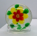 SOLD         Art Glass Paperweight Circa 1930 Vintage Chinese Flower Baccarat Copy Latticino