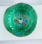 SOLD     Studio Paperweight Blown Vintage Art Glass Millefiori Faceted