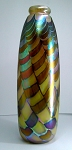 SOLD - - Signed Fellerman 8 inch Hand Blown Studio Art Glass Vase 1983