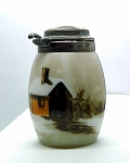 SOLD - - Antique Victorian Mustard Pot Painted log cabin opalware smith Mt Washington