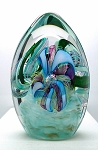 SOLD - - Contemporary Signed Art Glass Paperweight 1999 Michelle Pope Hilltop Artist