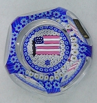 Whitefriars Bicentennia millefiori flag glass paperweight faceted signed