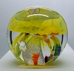 SOLD - - Modern Studio Art Glass Blown Paperweight Yellow Jellyfish Mushroom