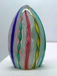 Vintage Murano Latticino Twisted RIBBON ZANFIRICO Pastel Art Glass Paperweight