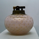 Vintage Blown Art Glass Mid-Century Murano pink gold table lighter