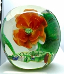 SOLD -  Vintage Chinese Paperweight Art Glass Frog and Flowers