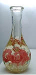Vintage St. Claire art glass Paperweight Bottle Vase Pink icepick flowers