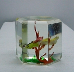 SOLD -  Early Chinese Art Glass Paperweight Faceted Fish Tank Aquarium