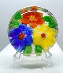 SOLD -  Vintage Chinese 3 flower Art Glass Paperweight