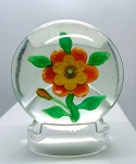 Chinese Vintage Art Glass Paperweight Circa 1930 Flower Copy of Baccarat