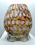 SOLD -  Welz Harlequin Honeycomb Bohemian Czech Spatter Glass Vase