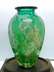 Signed Contemporary Small Green Hand Blown Studio Art Glass Vase
