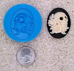 Skull Zombie Rose Food Safe Silicone Cameo Mold for candy soap clay resin