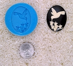 Hummingbird Lily of the Valley Food Safe Silicone Cameo Mold for candy soap
