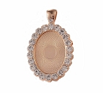 25x18mm Bright Gold Rhinestone Cabochon or Cameo Setting with Bail S2036