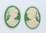 25x18mm ponytail girl resin cameo pair green white  S2046