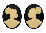 40x30mm Matched Pair African American Black Resin Cameo Afro Ethnic S2065