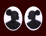 25x18mm Matched Pair African American Resin Cameo Black White Afro Ethnic Black Jewelry S2068