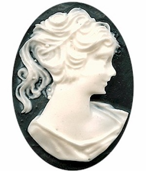 40x30mm Black and White Ponytail Girl Unset Resin Cameo 112a