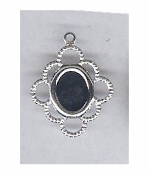 Silver 8x6mm cabochon filigree setting with ring 112x