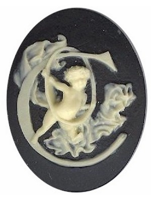 40x30mm Black Ivory Alphabet Letter C or Initial Flat Back Cabochon with cherub