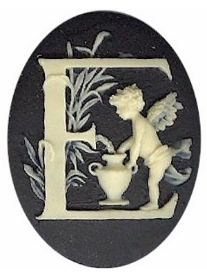 40x30mm Black Ivory Alphabet Letter E or Initial Flat Back Cabochon with cherub