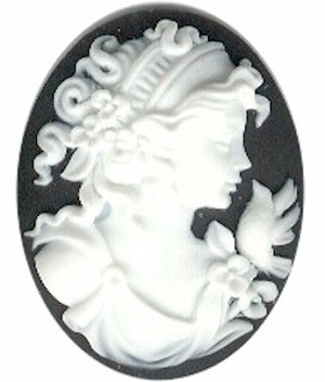 40x30mm Woman with Bird Royal Blue and Ivory Cameo Cabochon S2137