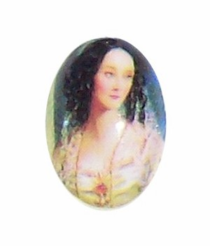 18x13mm Glass Cameo of victorian lady with long hair 194x