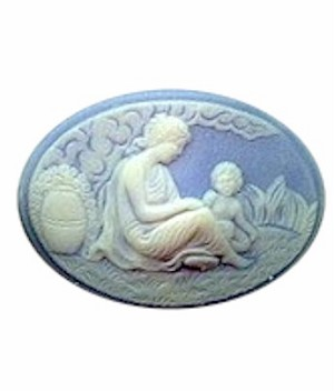 40x30mm Horizontal Blue and White Woman and Child Resin Cameo 216R
