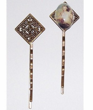 232x Antiqued Brass Bobby Pin with Filigree