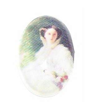 244x glass 18x13 Lady in White Cabochon