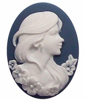 40x30mm Blue Lady Resin oval flat back  Cameo Cabachon 255x