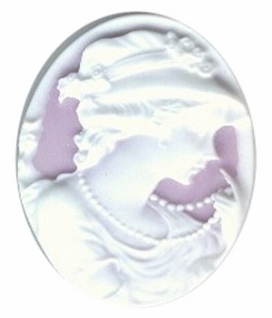 40x30mm Lilac and White Woman with Pearls Resin Cameo 25A