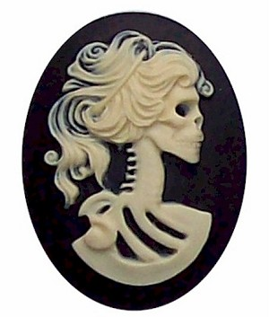 40x30mm Black and Ivory skull Skeleton Resin Cameo Cabochon 269x